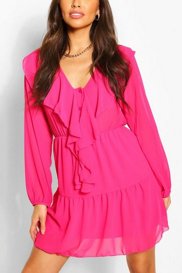 Womens Cerise Chiffon Ruffle Front Smock Dress