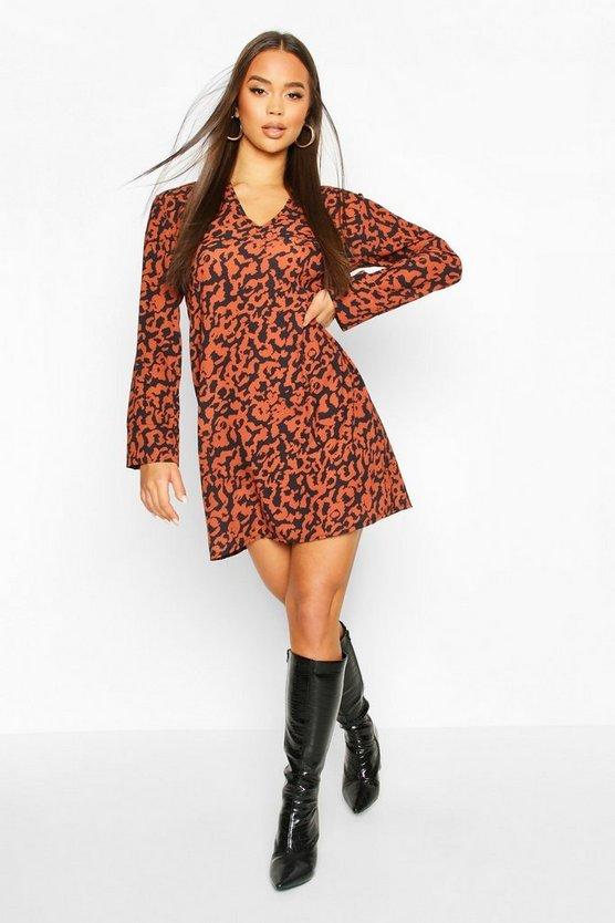 Oversized Leopard Shirt Dress