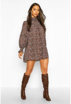 Leopard Print Shirred Neck Shift Dress, Brown, Donna