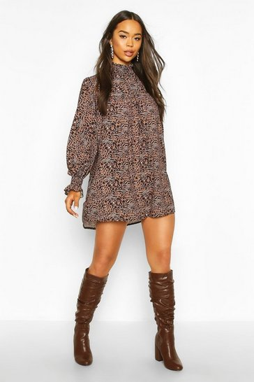 Brown Leopard Print Shirred Neck Shift Dress