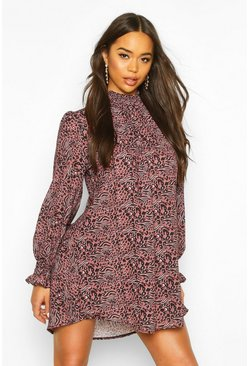 Mauve Leopard Print Shirred Neck Shift Dress