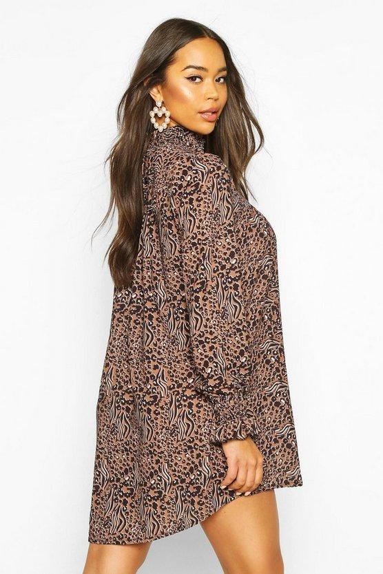 Leopard Print Shirred Neck Shift Dress