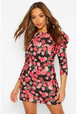 Rose Print Puff Sleeve Shift Dress, Black, MUJER