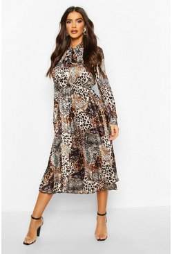 Satin Animal Print Pleated Tie Neck Midi Dress, Brown