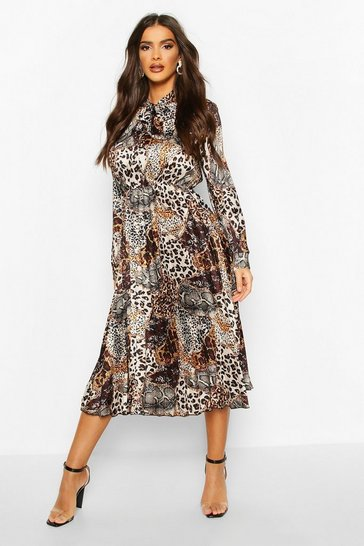 Brown Satin Animal Print Pleated Tie Neck Midi Dress