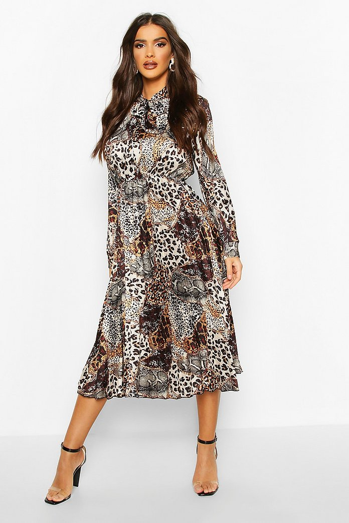 Satin Animal Print Pleated Tie Neck Midi Dress, Brown