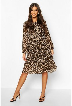 Leopard Tiered Frill Midi Dress, Donna