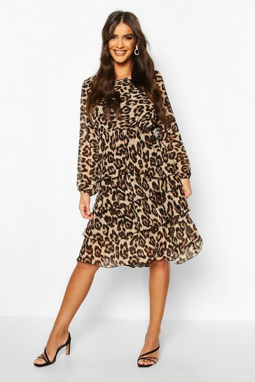 Leopard Tiered Frill Midi Dress