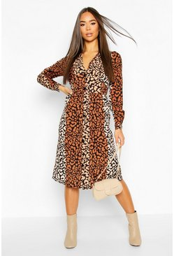 Womens Black Leopard Print Button Through Midi Dress