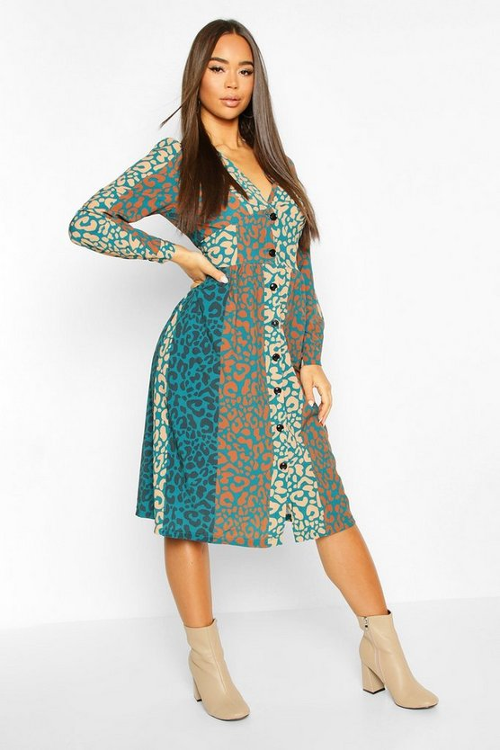 Teal Leopard Print Button Through Midi Dress