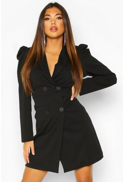 Puff Shoulder Double Breasted Blazer Dress, Black