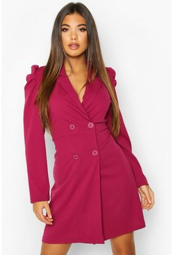 Womens Raspberry Puff Shoulder Double Breasted Blazer Dress