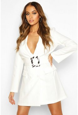 Woven Zebra Buckle Belt Blazer Dress, Ivory