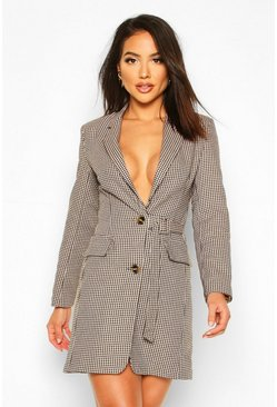 Jaquard Check Buckle Blazer Dress, Tan