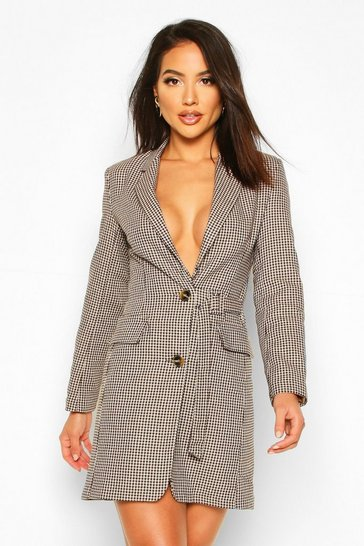 Tan Jaquard Check Buckle Blazer Dress