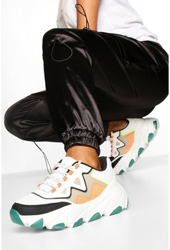 Contrast Sole Chunky Trainers, Green