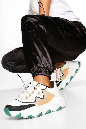 Green Contrast Sole Chunky Trainers