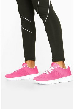 Pink Knitted Sports Trainers