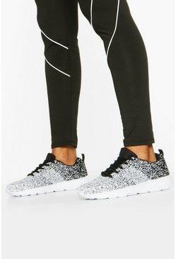 Speckle Knitted Sports Trainers, Black