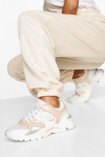 Peach Mixed Panel Chunky Sole Trainers