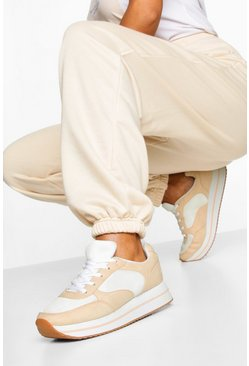 Platform Retro Running Trainers, Natural