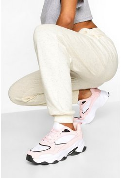Pink Contrast Sole Chunky Sports Sneakers