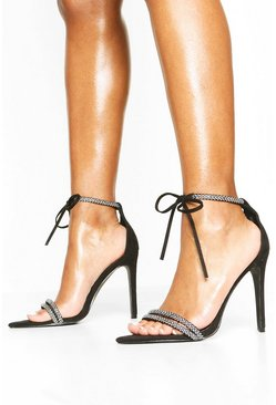 Embellished Tie Front 2 Part Heels, Black