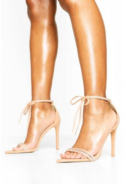 Embellished Tie Front 2 Part Heels, Blush