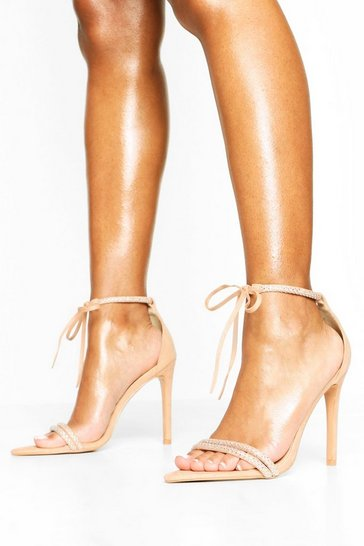 Blush Embellished Tie Front 2 Part Heels