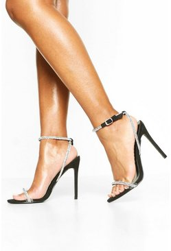 Black Embellished Clear Strap 2 Part Heels