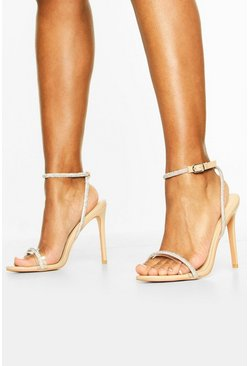 Embellished Clear 2 Part Heels, Nude