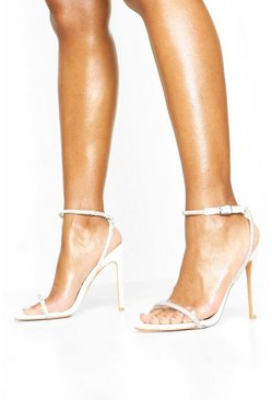 Embellished Clear 2 Part Heels, White