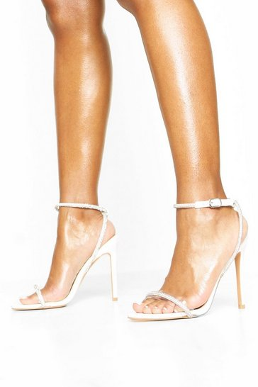 White Embellished Clear 2 Part Heels