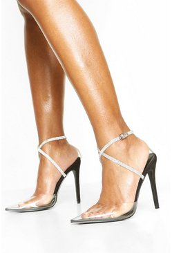 Embellished Ankle Strap Clear Courts, Black