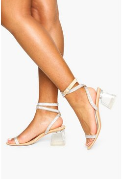 Blush Embellished Clear Low Block Heels
