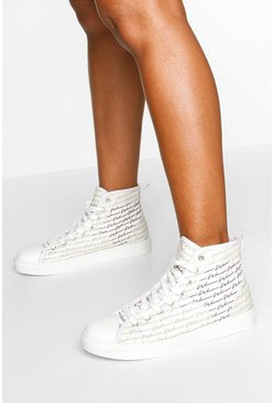 Woman Script High Top Sneakers, Black