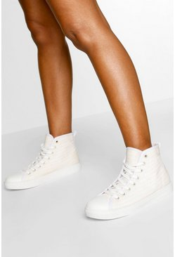 Woman Script High Top Sneakers, Nude
