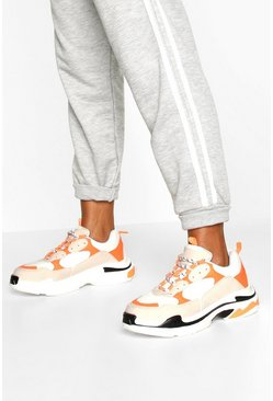 Orange Chunky Platform Lace Up Sneakers