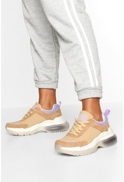 Bubble Sole Chunky Lace Up Trainers, Natural