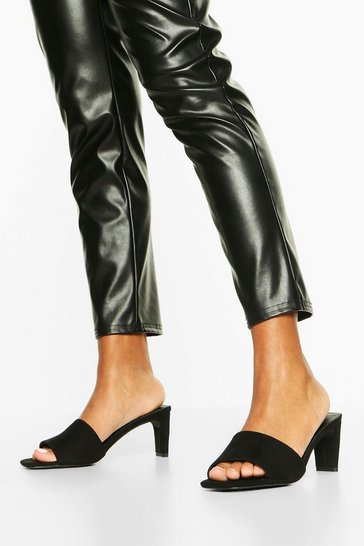 Black Wide Fit Square Toe Low Heel Mules