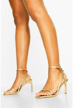 Wide Fit Strappy Heel Sandals, Gold