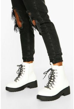 White Wide Fit Chunky Hiker Boots