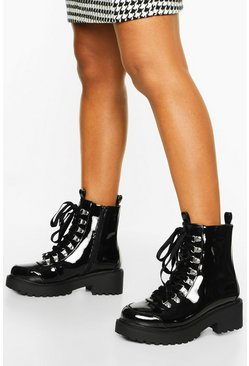 Wide Fit Chunky Hiker Boots, Black