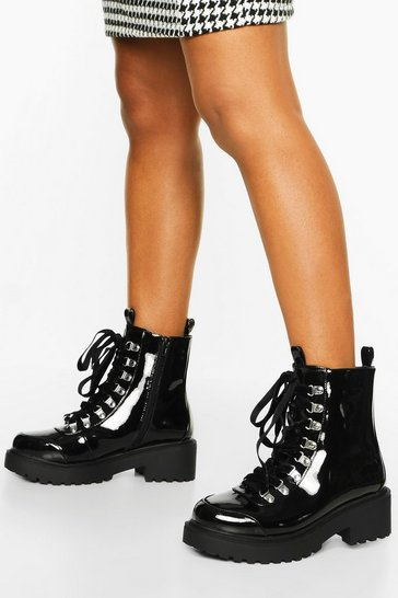 Black Wide Fit Chunky Hiker Boots