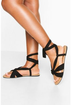 Wrap Strap Basic Sandals, Black
