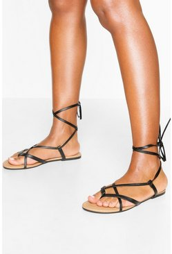 Multi Strap Ankle Tie Sandals, Black