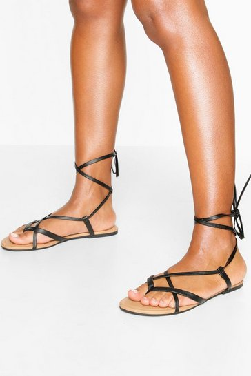 Black Multi Strap Ankle Tie Sandals
