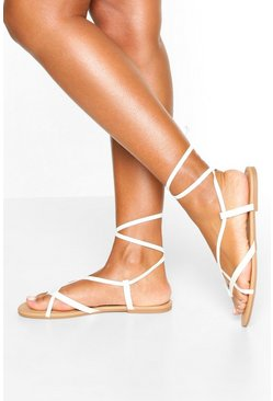 White Multi Strap Ankle Tie Sandals