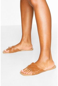 Plait Strap Square Toe Sliders, Tan