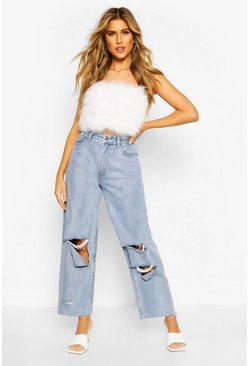 Mid blue High Rise Ripped Boyfriend Jeans